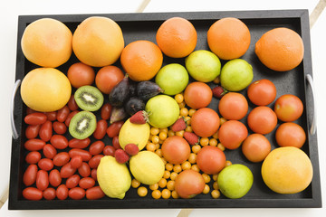 Fruits and vegetables in a tray