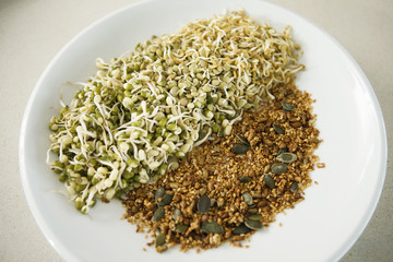Close-up of bean sprouts with cereals on a plate