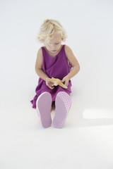 Girl holding a starfish