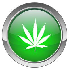 """Bouton """"Feuille de Cannabis"""" (vert)"""