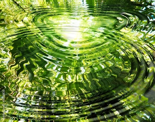 Papiers peints Bambou Ripples on water: reflection of bamboo forest