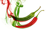 red and green hot chili pepper with color smoke on white-