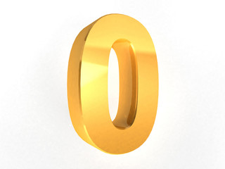 0 - Zero Gold Number on white background - 3d image