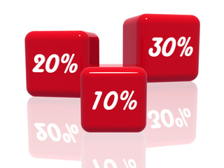ten, twenty and thirty percentages in red