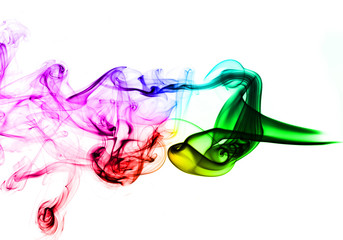 Colored Abstract Smoke over white