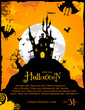 Halloween party invitation or background with haunted house