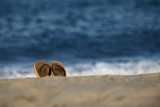 tong sandale plage vacances été mer océan libre baignade pied poster