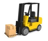 Forklift delivering boxes poster