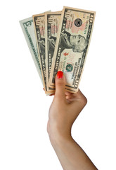 woman hand with dollar bills
