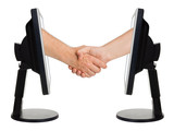 Virtual handshake - internet business concept poster