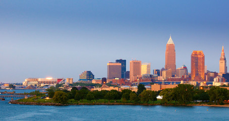 Cleveland, Ohio, twilight panorama just after sunset