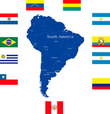south america continent with countries flags poster