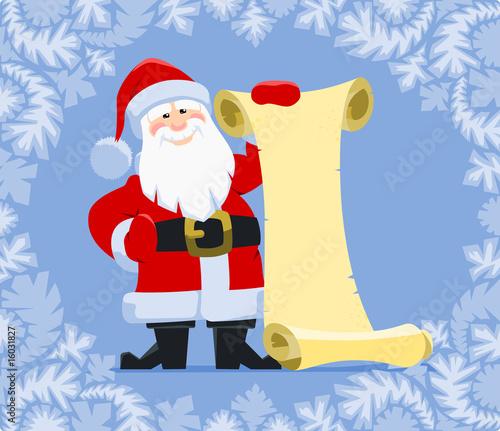 Papiers peints Chambre bébé Santa's Wish List. Santa Claus holding blank paper scroll