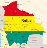 Bolivia country colored by national flag poster