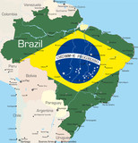 Brazil country colored by national flag poster
