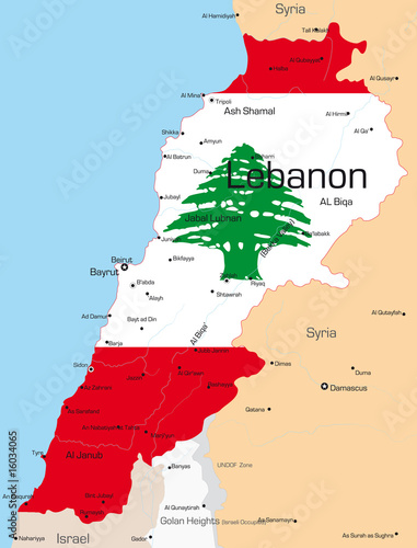 Lebanon country colored by national flag