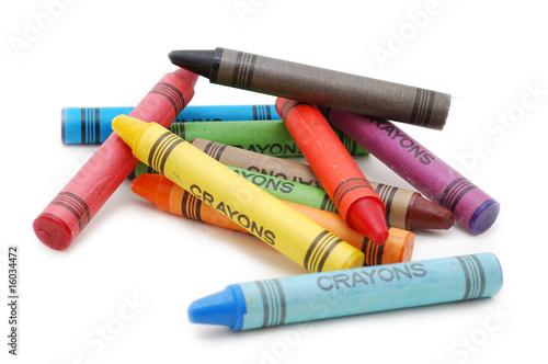 Leinwandbild Motiv Crayons lying in chaos