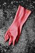 Pink rubber glove