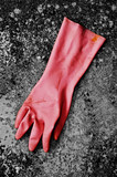 Pink rubber glove