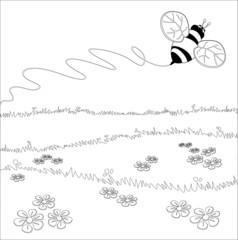 Ape sul prato - Immagine in bianco e nero da colorare