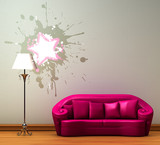 Pink couch with standard lamp in minimalist interior poster