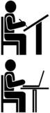 Man writes - pictogram, symbol poster