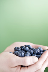 A handful of blueberries, close-up