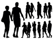 A set of people silhouettes