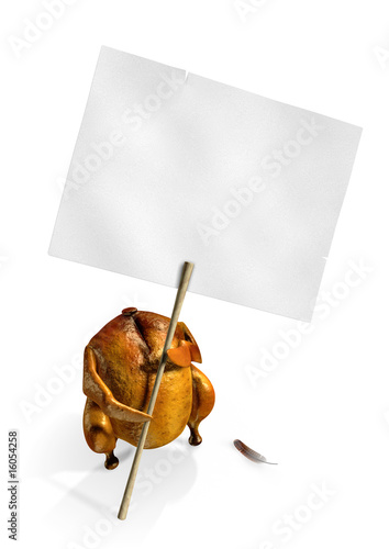 Chicken strike. 3D rendered image