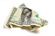 wrinkled crumpled dollar