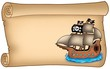 Old scroll with pirate ship