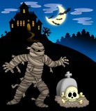 Mummy with haunted mansion poster