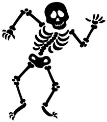 Dancing skeleton silhouette