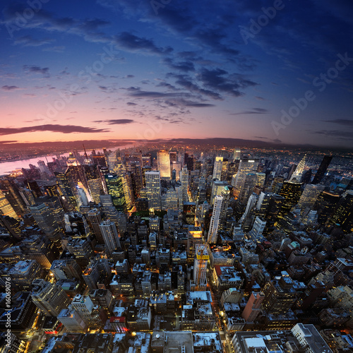 canvas print picture Manhattan at sunset