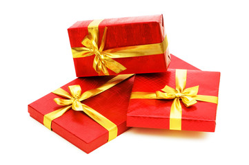 Gift boxes isolated on the white background