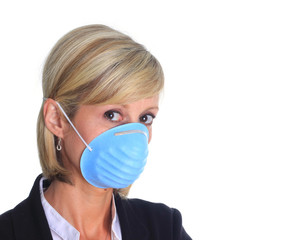 Woman with flu mask
