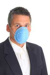 Man wearing flu mask