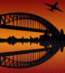plane departing Sydney at sunset
