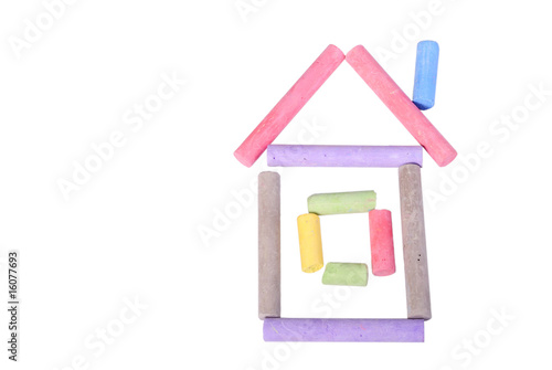 Hut made of color chalks