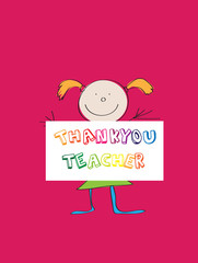 illustration of a childs drawing thanking teacher