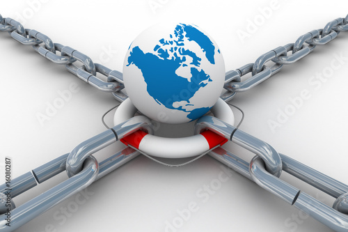 Chain fastened by lifebuoy and globe. Isolated 3D image.