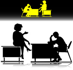 man and woman on table work vector silhouettes