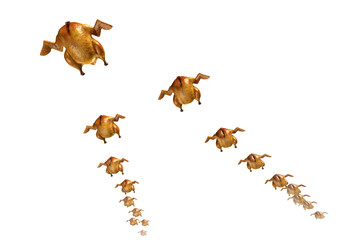 Roasted chickens flying in V-formation. 3D rendered image