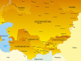 Vector color map of Central Asia countries poster