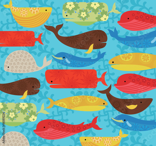 whale cartoon cute. Abstract Whale Cartoon Pattern