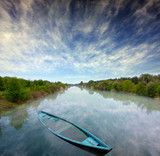 Mystical river landscape poster