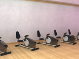 Row of cardio workout machines at a gymnasium. poster