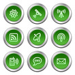 Communication web icons, green circle buttons series