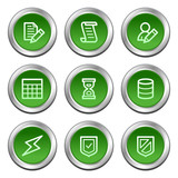 Database web icons, green circle buttons series poster