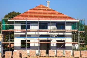 Neubau Einfamilienhaus Rohbau Dachstuhl